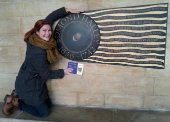 Inga with Edmund Halley's Plaque at Westminster Abbey