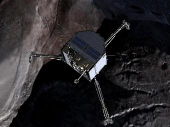 An impression of the Philae lander over a comet